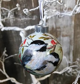 Handpainted Ornament - Chickadee Duo with Berries