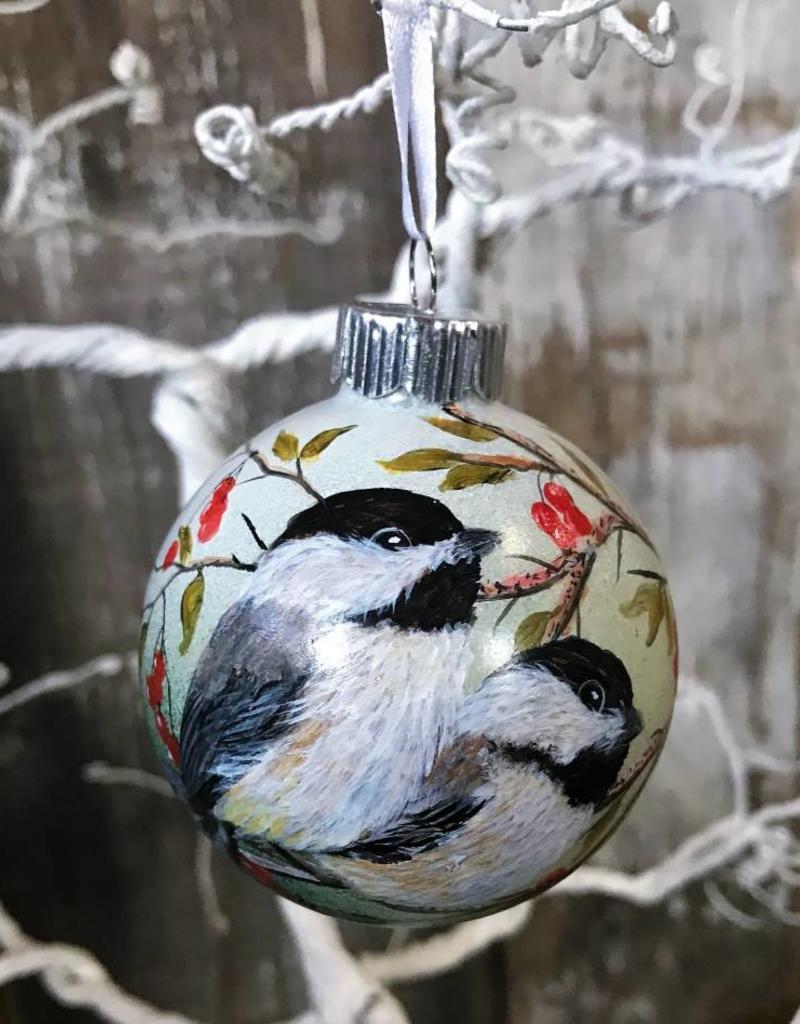 Handpainted Ornament - Chickadee Duo with Berries