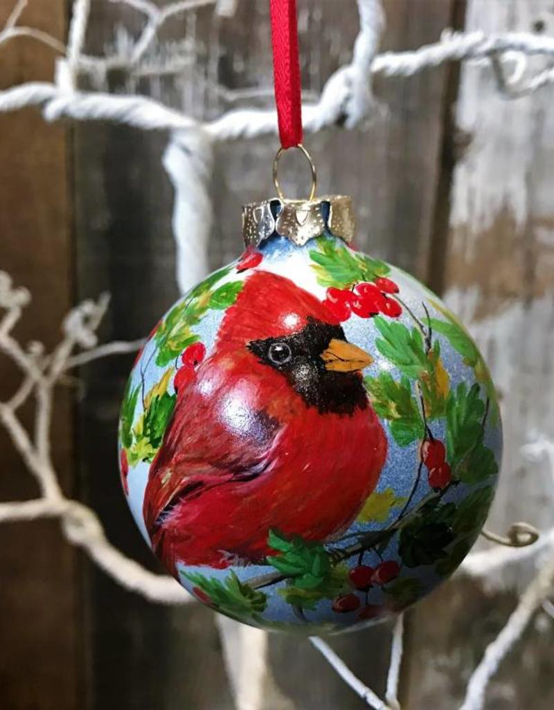 Handpainted Ornament - Cardinal with Berries