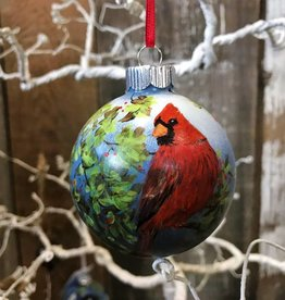 Handpainted Ornament - Cardinal in the Spring