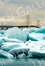 "Nick Irwin Images Mackinac Bridge Blue Ice - 5"" x 7"" Matted Print"