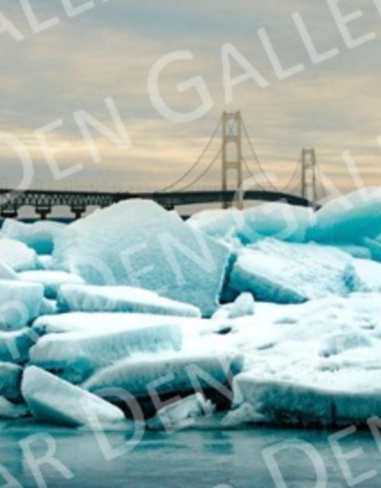 "Nick Irwin Images Mackinac Bridge Blue Ice - 5"" x 7"" Matted Print"