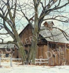 Ron Wetzel Art Winter Barn - 15x20 Print