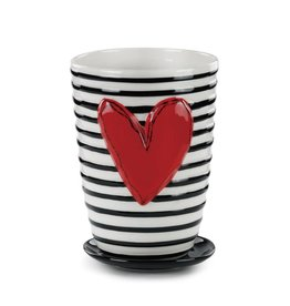 Tracy Pesche Stripes Ceramic Pot and Saucer
