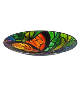 Bird Bath - Stained Glass Butterfly