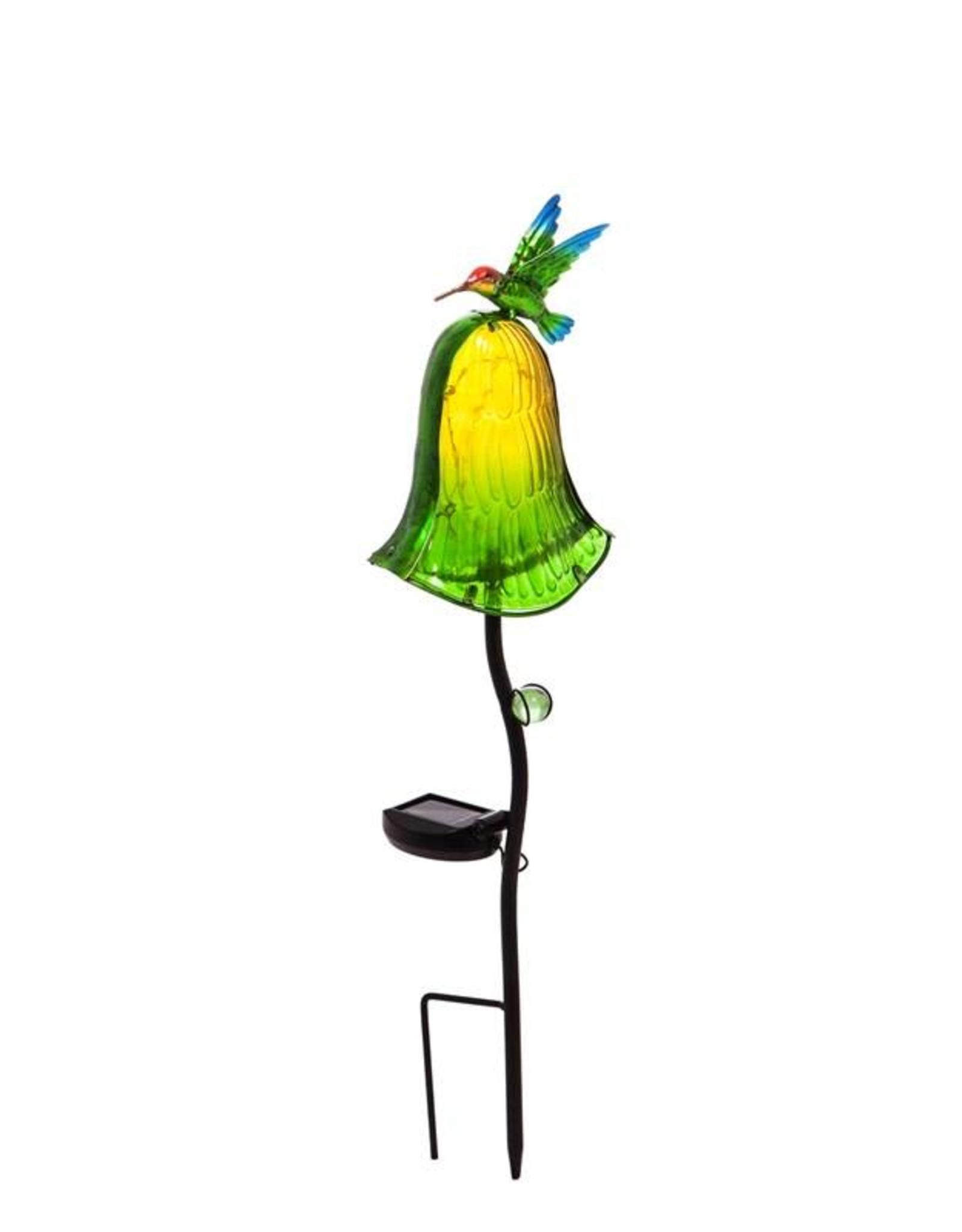 Glass Mushroom Solar Stake - Green Bird