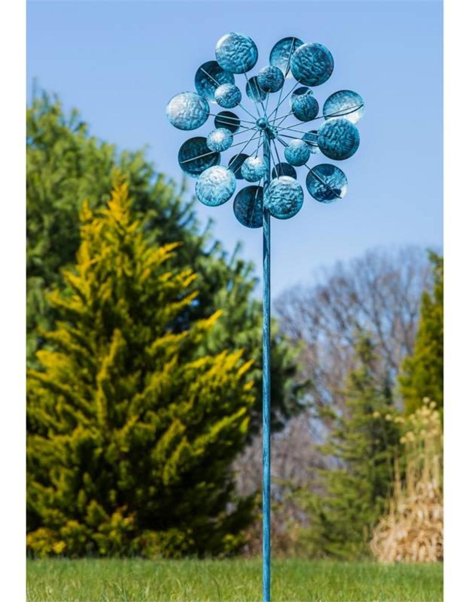 Kinetic Wind Spinner Stake - Verdigris Circles