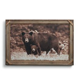 Black Bear Family - Barnwood Wall Art