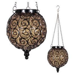 Solar Hanging Lantern - Round Amber