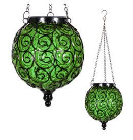 Solar Hanging Lantern - Round Green