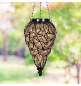 Solar Hanging Lantern - Amber Teardrop