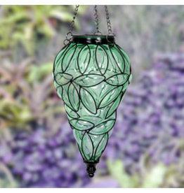 Solar Hanging Lantern - Green Teardrop
