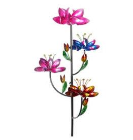 Kinetic Wind Spinner Stake - Four Flower Lotus