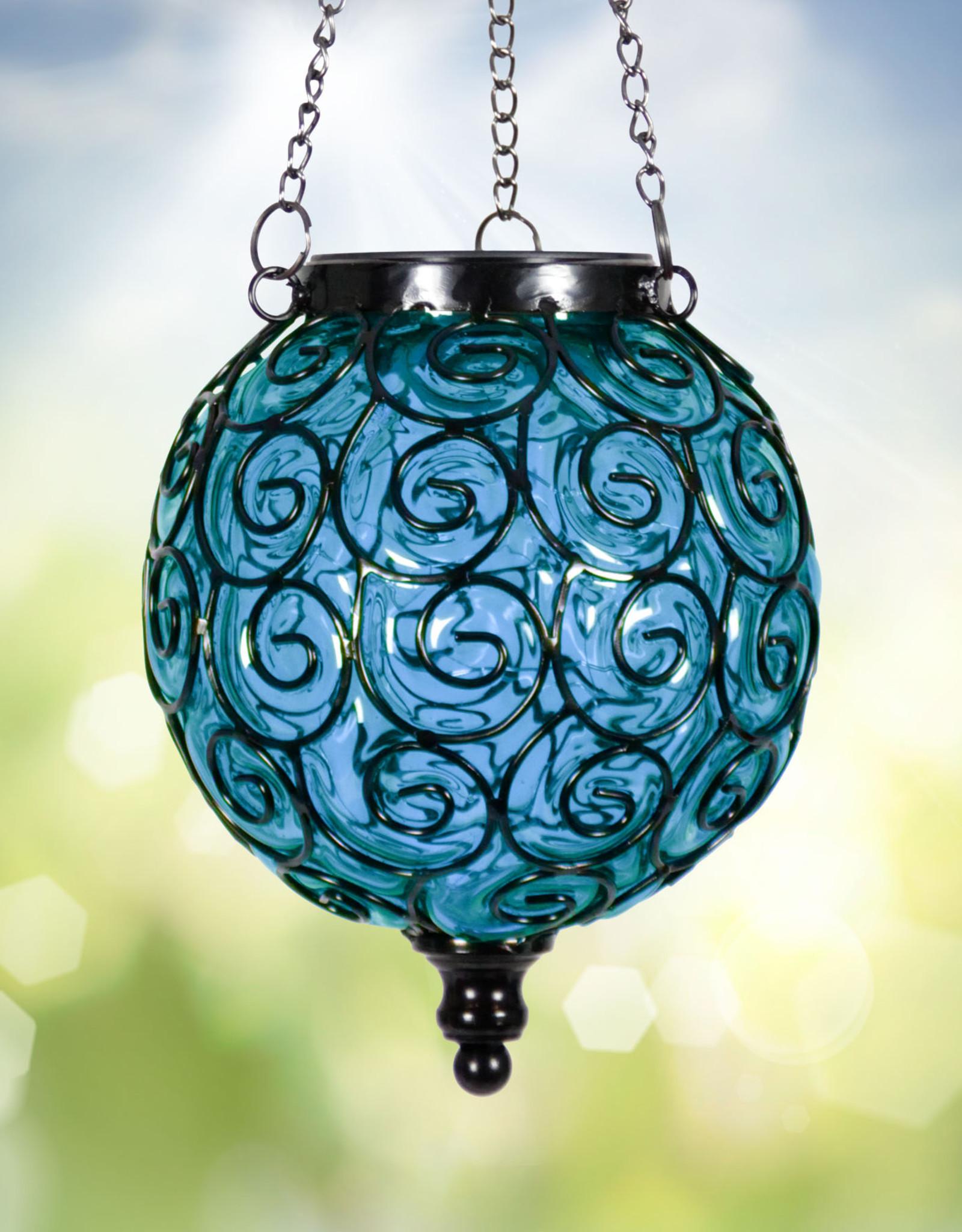 Solar Hanging Lantern - Blue Round