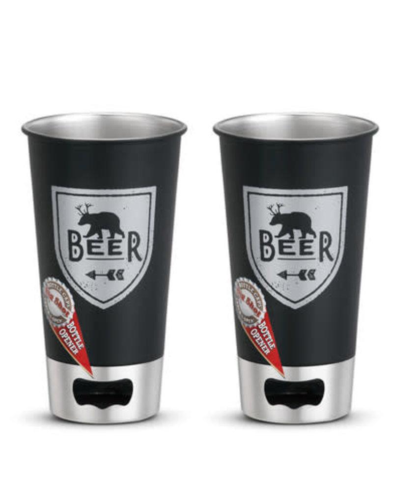 Beer + Deer Metal Pint Glass Set of 2