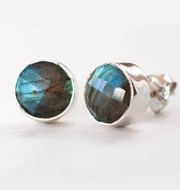 Stud Earrings - Labradorite Silver