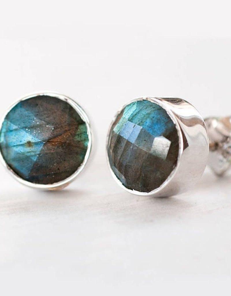 Stud Earrings - Labradorite Silver