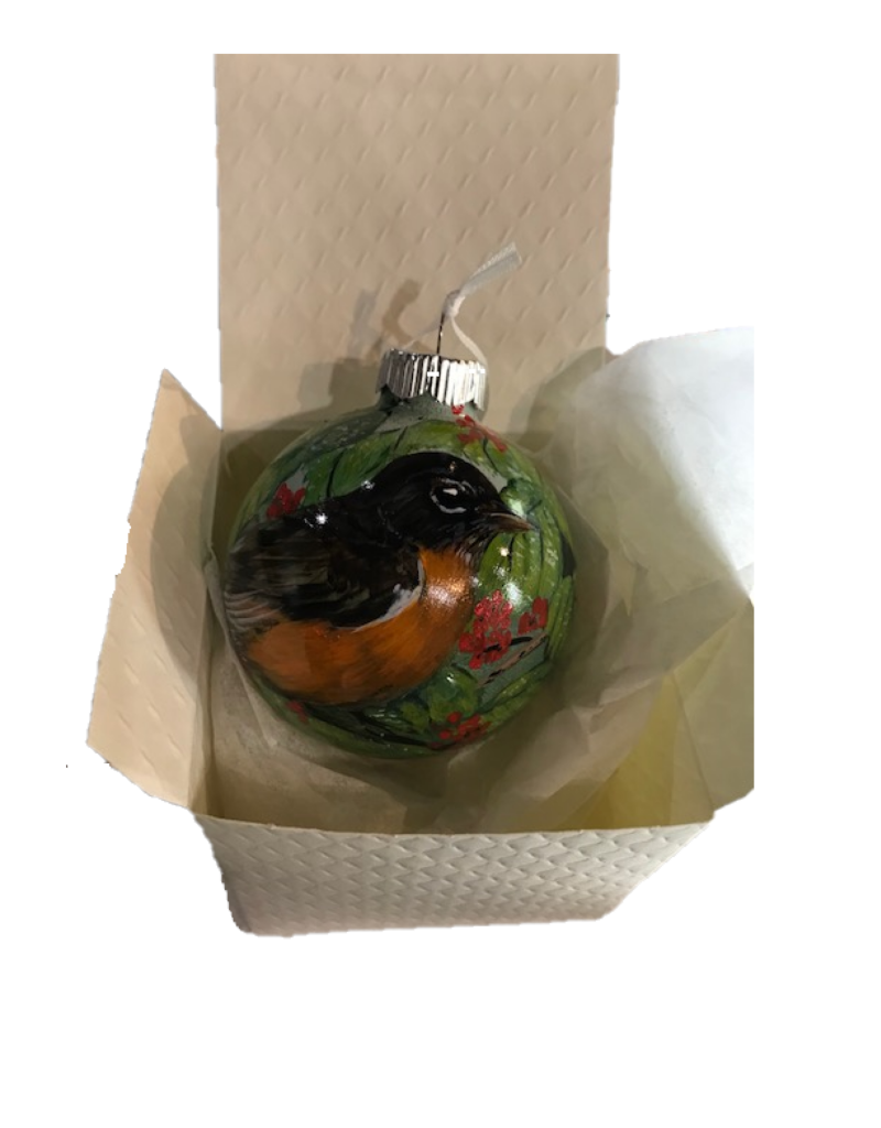 Handpainted Ornament - Robin in Spring
