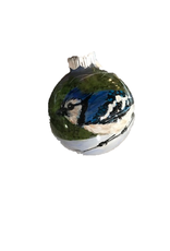Handpainted Ornament - Bluejay in Winter