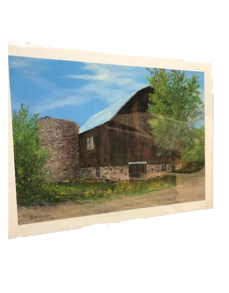 Ron Wetzel Print - Raftshol Vineyard Barn NW Bayshore Dr Suttons Bay