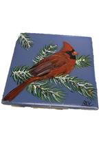 Handpainted Tile - Winter Cardinal III