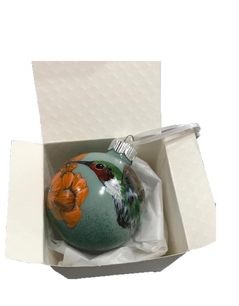 Handpainted Ornament - Humminbird with Orange Flower