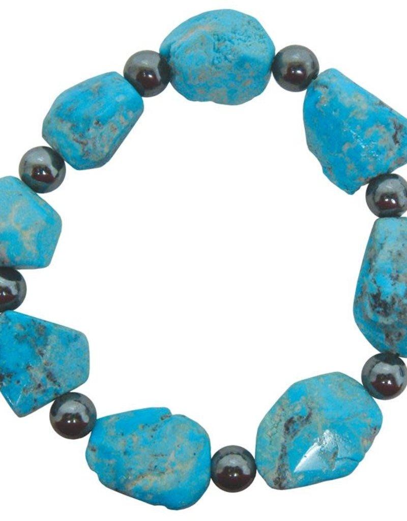 Bracelet - Turquoise with 8mm round Hematite