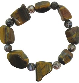 Bracelet - Golden Tiger's Eye and 8mm Silver Needle Agate