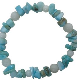Bracelet - Larimar with 6mm round Snow Quartz