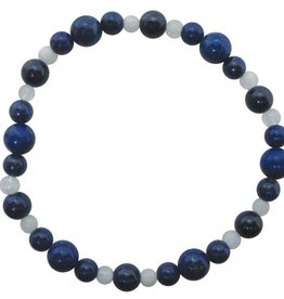 Bracelet - Lapis and 4mm round Rainbow Moonstone