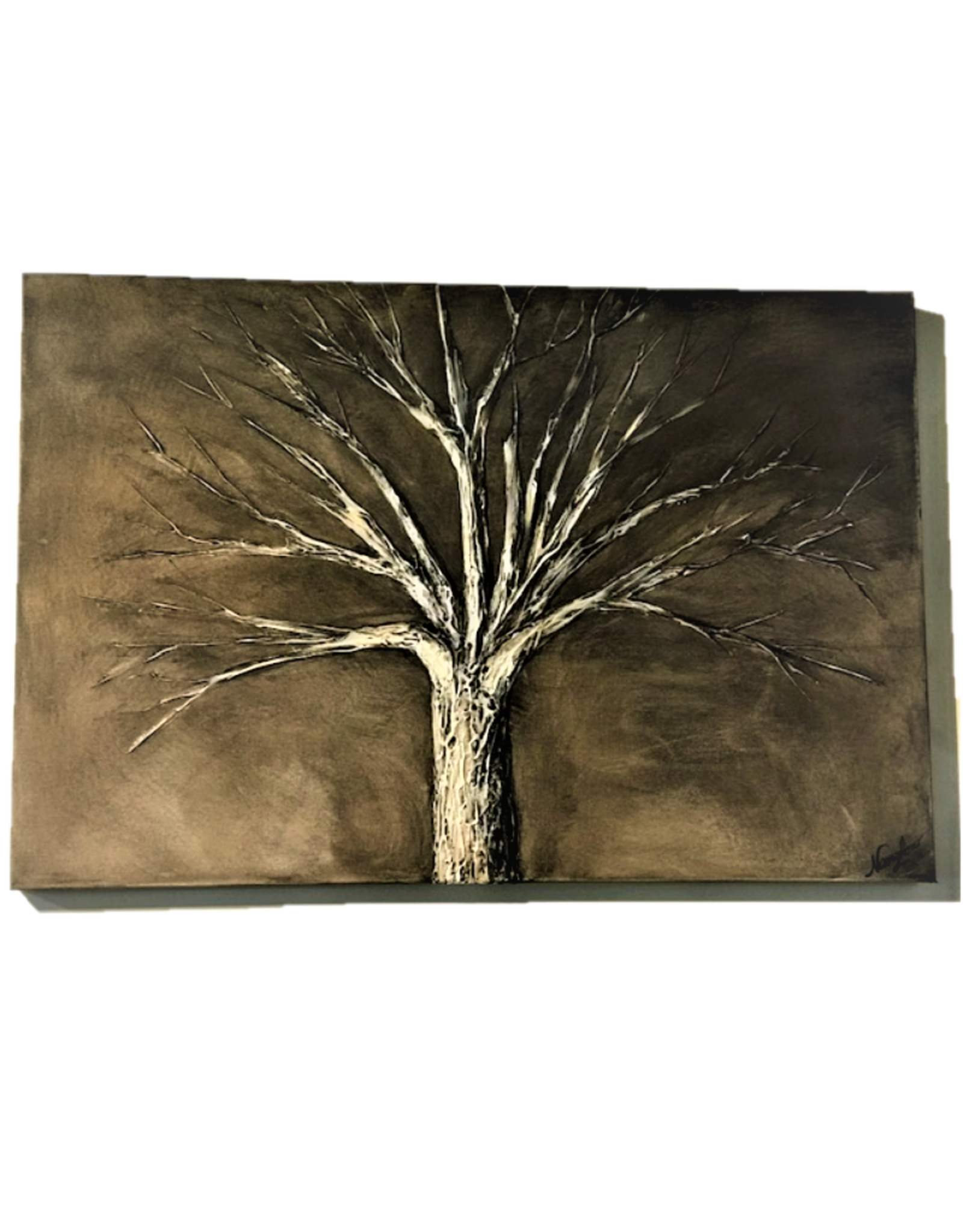 """Nanglow Fine Art """"Earth's Umber"""" 36x24 Sculpt Painting"""