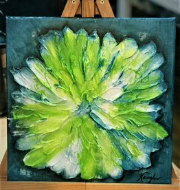 """Lime Accents"" 12x12 Sculpt Painting"