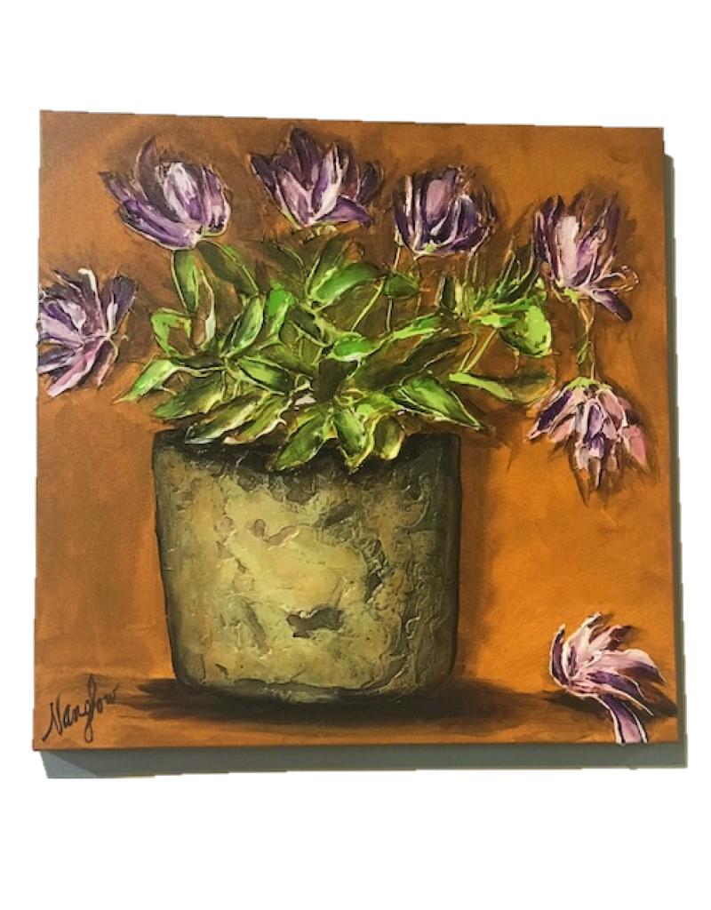 """""""Old Porch Pot"""" 20x20 Sculpt Painting"""