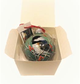 Handpainted Ornament - Chickadee in Winter 1