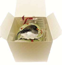 Ron Wetzel Art Handpainted Ornament - Junco in Winter