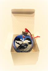 Handpainted Ornament - Chickadees in Winter 3