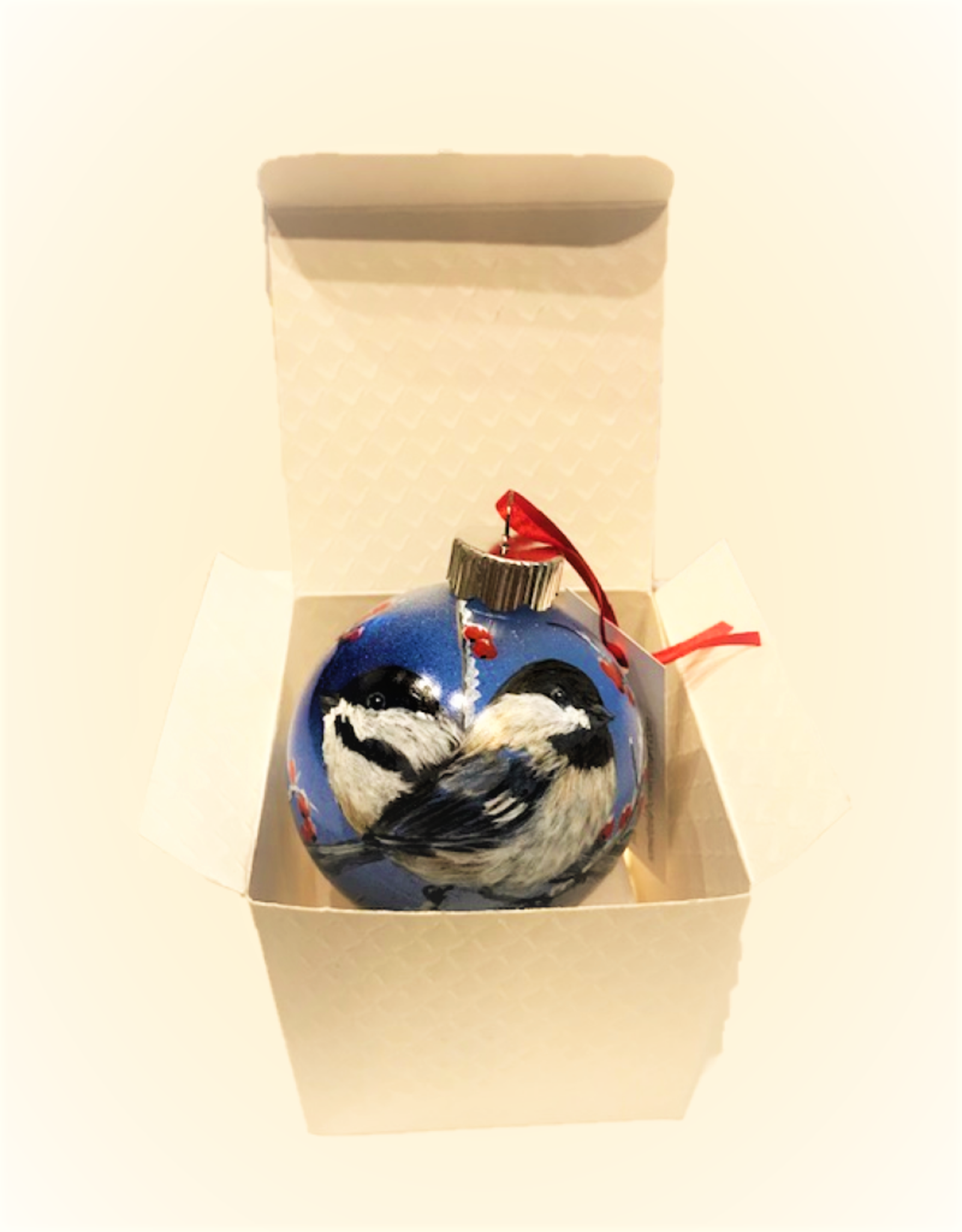 Ron Wetzel Art Handpainted Ornament - Chickadees in Winter 3