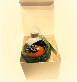 Handpainted Ornament - Red Breasted Grosbeak