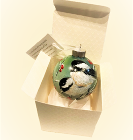 Ron Wetzel Art Handpainted Ornament - Chickadees in Winter 4