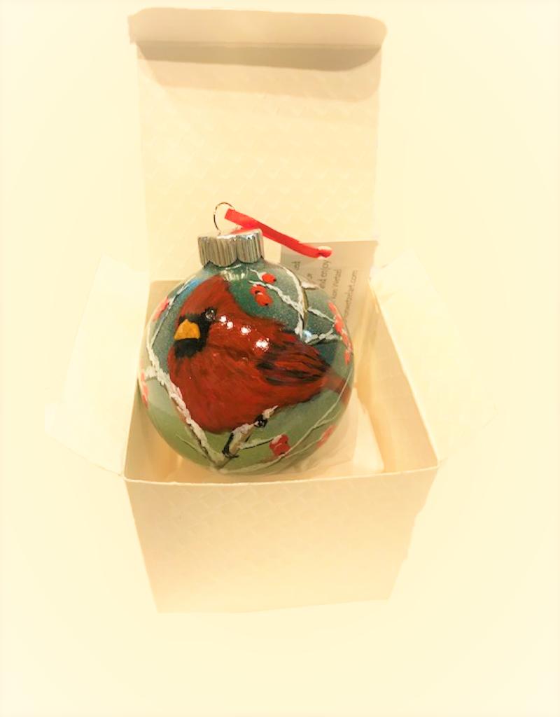Handpainted Ornament - Cardinal in Winter 7