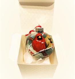 Handpainted Ornament - Cardinals in Winter 8