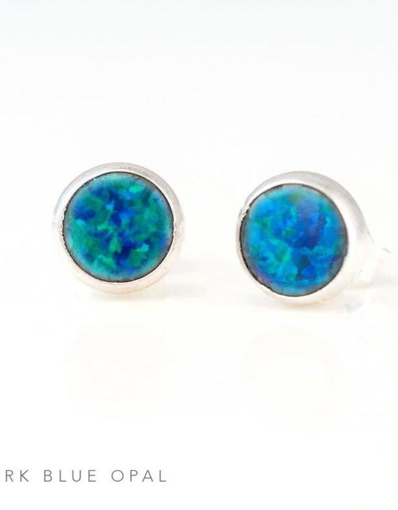 Stud Earrings - Blue Opal/Silver
