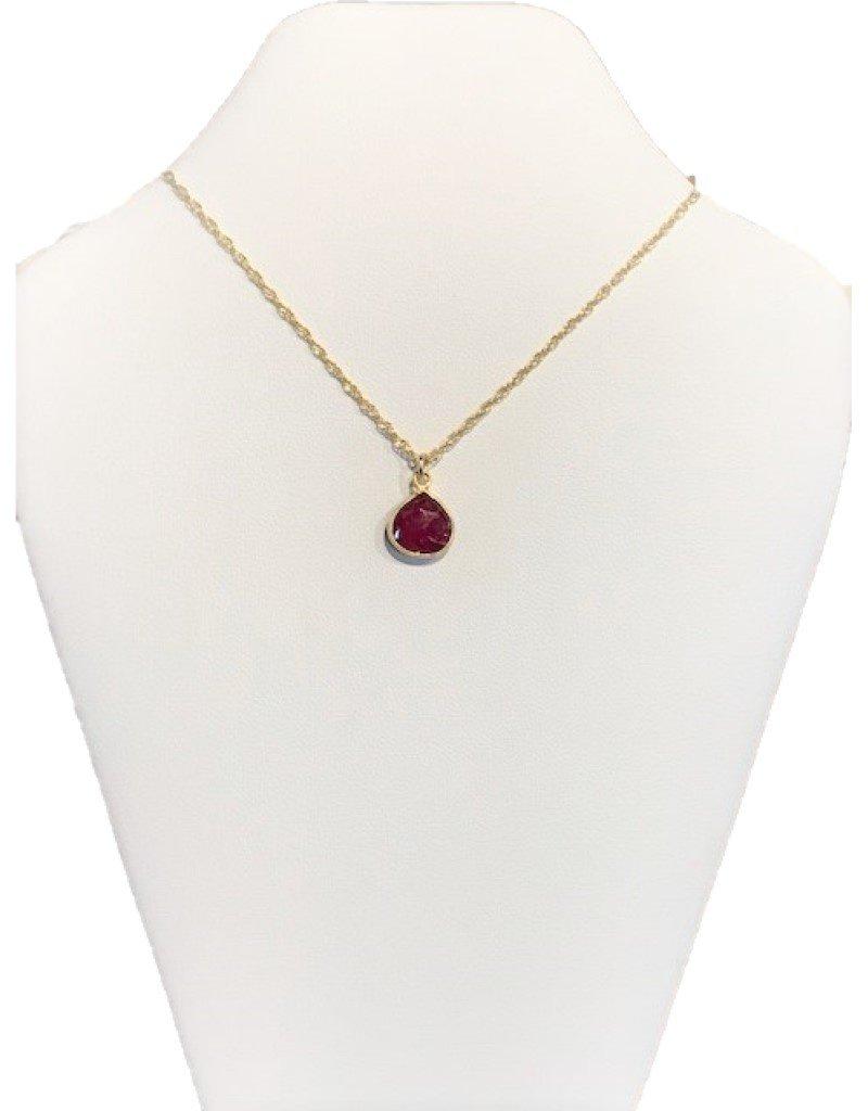 Bezel Necklace - Ruby/Gold