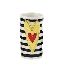 Tracy Pesche Heart Vase - Yellow Stripe