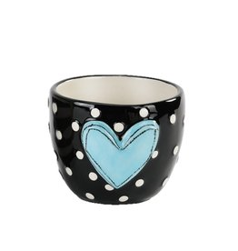 Tracy Pesche Heart Vase - Blue Polka Dot