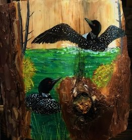 Ron Wetzel Art Painting on Wood - Loons