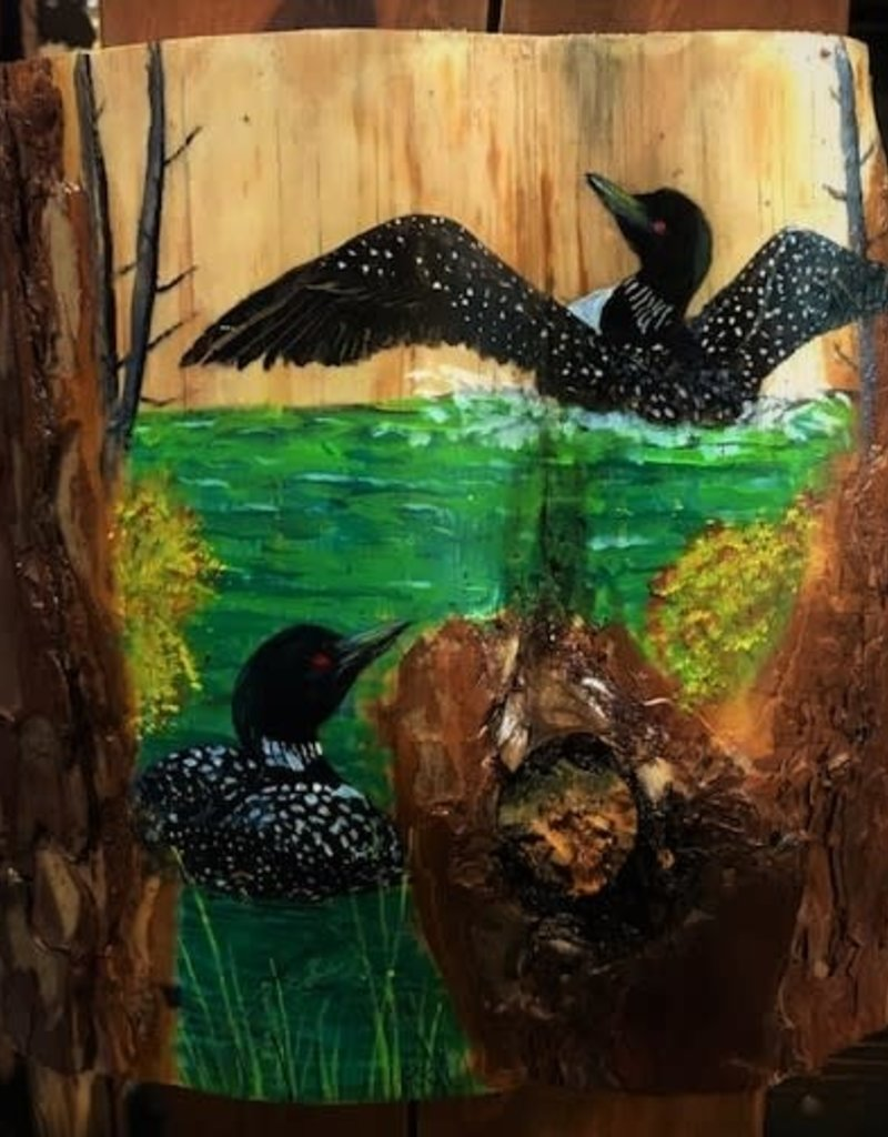 Painting on Wood - Loons