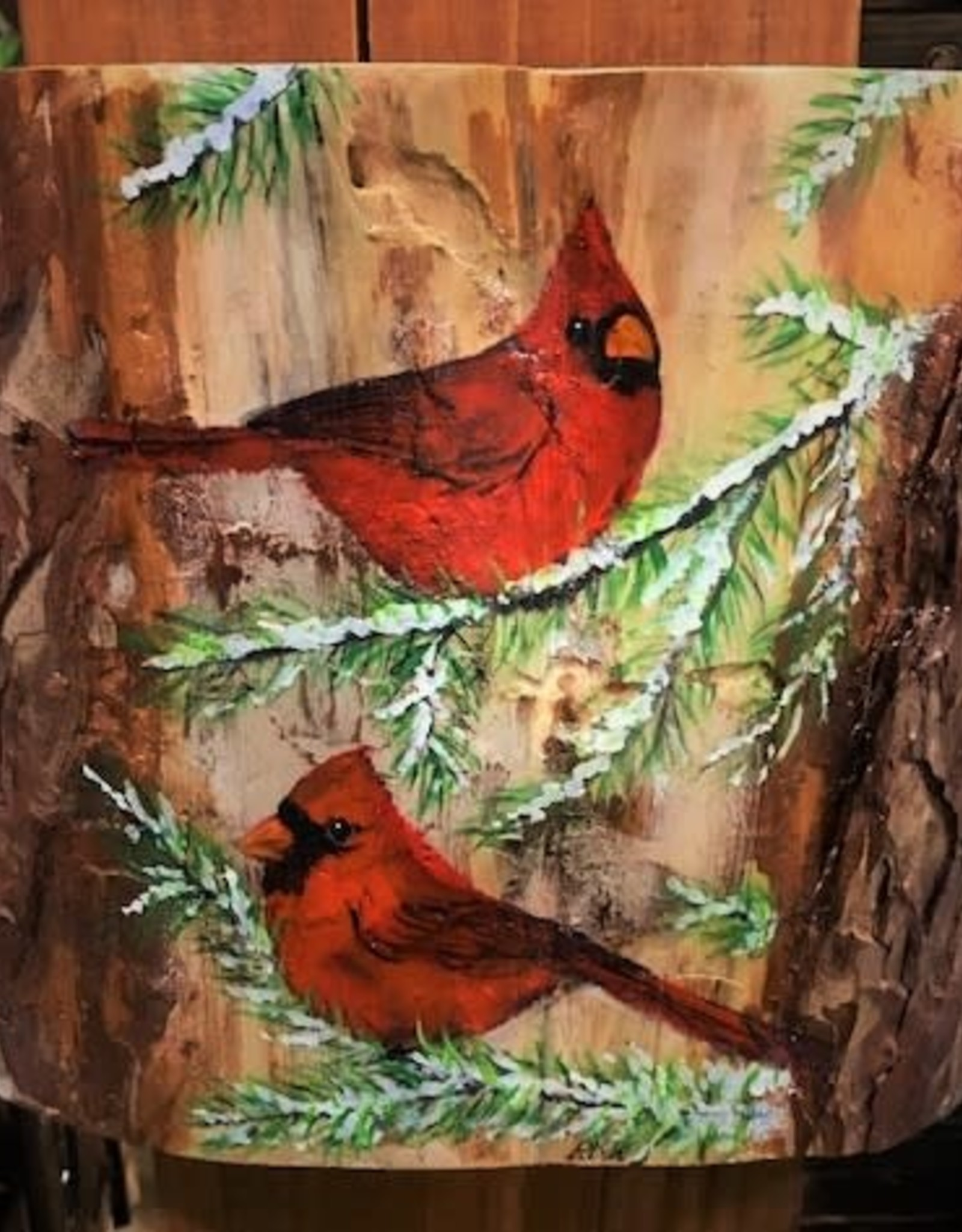 Ron Wetzel Art Painting on Wood - Cardinals