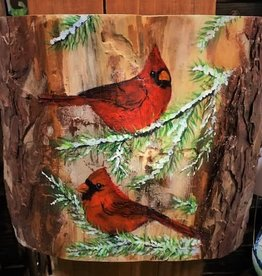 Ron Wetzel Art Painting on Wood - Cardinals