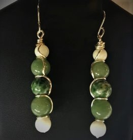 Dangle Earrings - Aventurine, Mica, & Snow Quartz/Argentium Silver